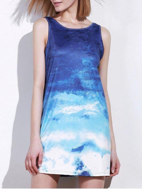 Ombre Imprimer Robe sans manches - Bleu et Blanc M
