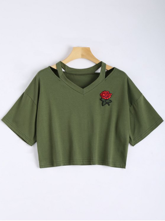buy Floral Embroidered Cold Shoulder Top - ARMY GREEN S