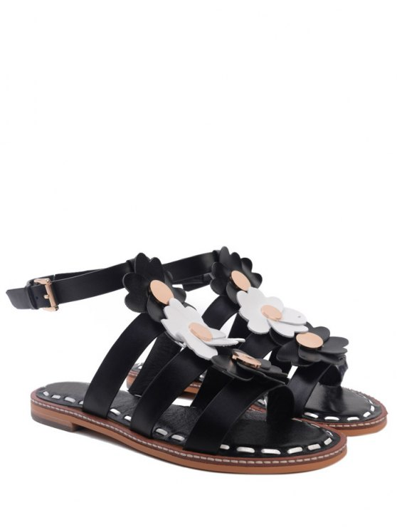 online Flowers T Bar Flat Heel Sandals - BLACK 37