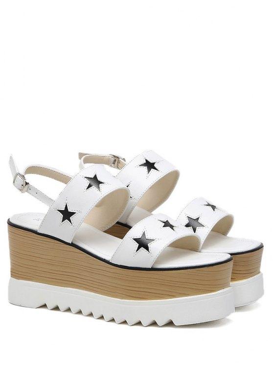 Plataforma de dos tonos estrella patrón sandalias - Blanco 38