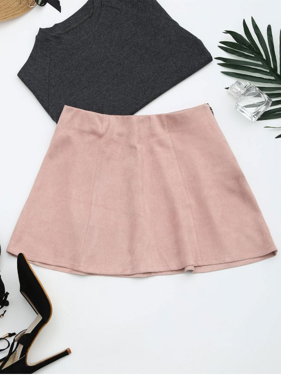 affordable Faux Suede Mini A-Line Skirt - PINK M
