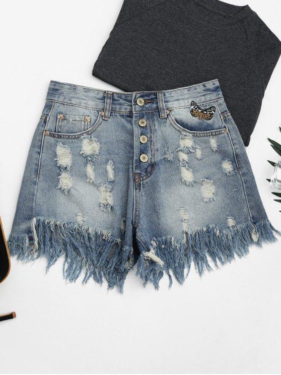 Ripped Cutoffs Butterfly bordado Denim Shorts - Denim Blue XL