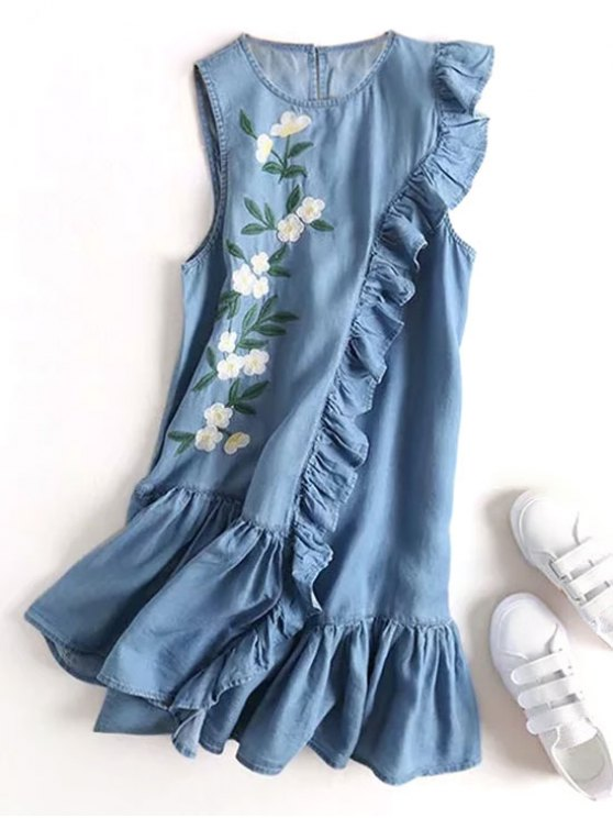 Floral bordado volantes vestido casual - Denim Blue M