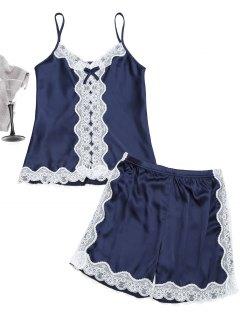 Lace Trim Cami Top Avec Shorts Satin - Bleu Violet M