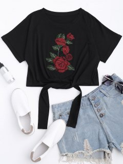 Floral Patched Self Tie Bowknot Tee - Black S