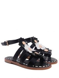 Flowers T Bar Flat Heel Sandals - Black 39