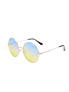 Metal Frame Round Ombre Sunglasses With Box - Blue