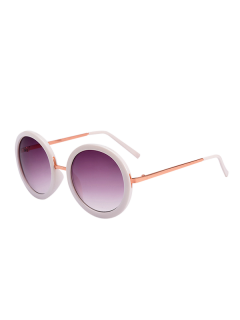 UV Protection Round Metal Frame Sunglasses With Box - White
