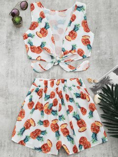 Pineapple Print Crop Top And Shorts Set - White M