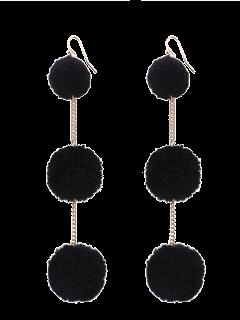 Fuzzy Ball Chain Hook Earrings - Black
