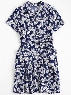 Floral Belted Vintage Shirt Dress - Floral S