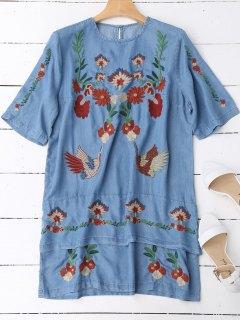 Layered Floral Embroidered Shift Dress - Denim Blue L