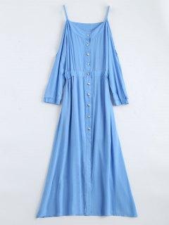 Maxi Cami Cold Shoulder Shirt Dress - Blue L