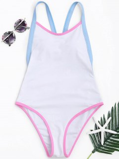 Tricolor High Cut One Piece Swimsuit - White M