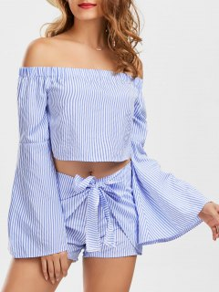 Off The Shoulder Bell Sleeve Crop Top And Striped Shorts - Stripe M