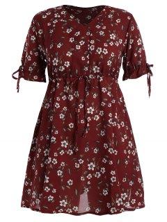 Plus Size Floral Chiffon Drawstring Mini Dress - Deep Red 5xl