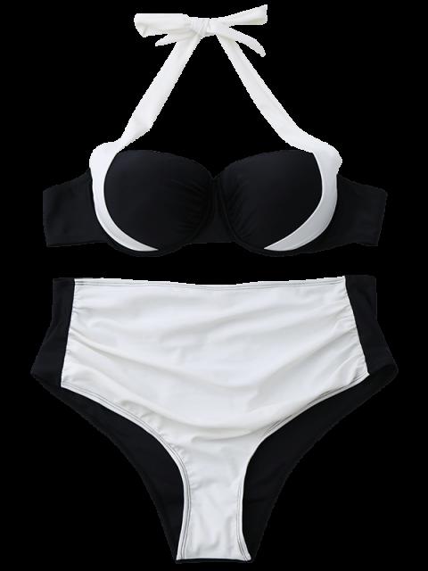 latest Push Up Halter Color Block Bikini - WHITE M Mobile