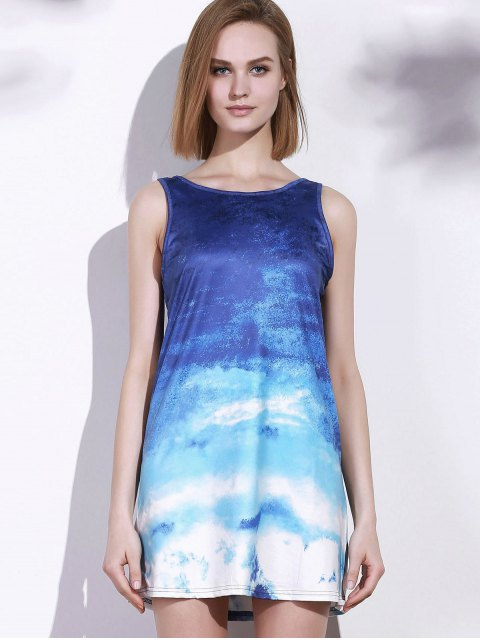 outfit Ombre Print Sleeveless Dress - BLUE AND WHITE L Mobile
