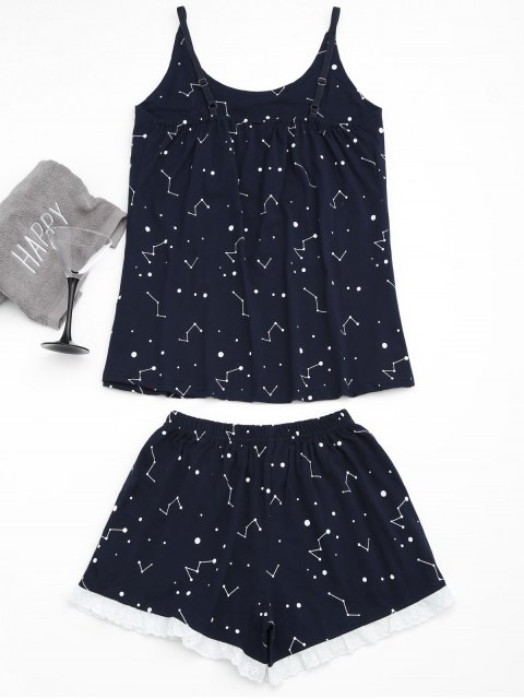 new Loungewear Constellation Cami Top with Shorts - PURPLISH BLUE L Mobile