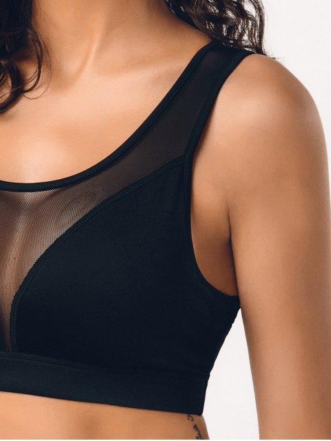 online Cut Out Mesh Padded Sporty Bra - BLACK L Mobile