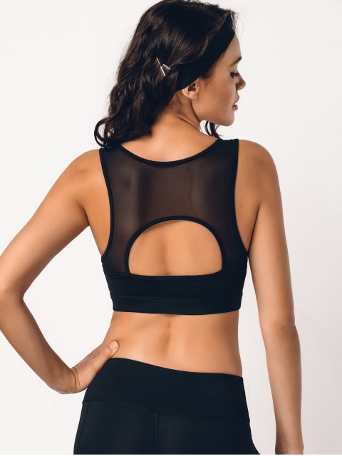 new Cut Out Mesh Padded Sporty Bra - BLACK M Mobile