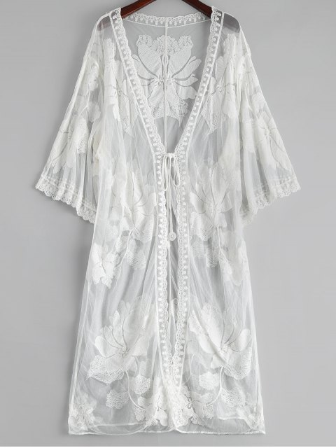 outfits Floral Embroidered Sheer Lace Kimono Cover Up - WHITE ONE SIZE Mobile