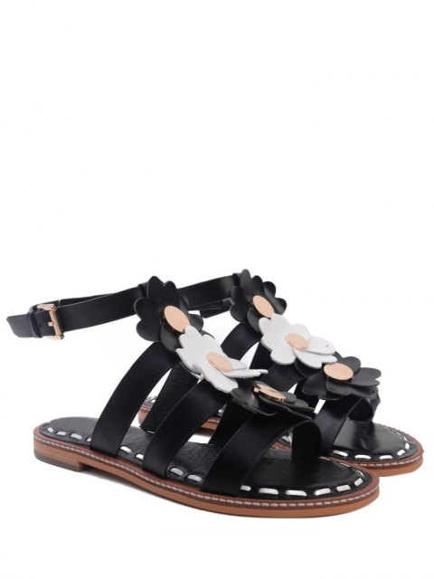 new Flowers T Bar Flat Heel Sandals - BLACK 38 Mobile