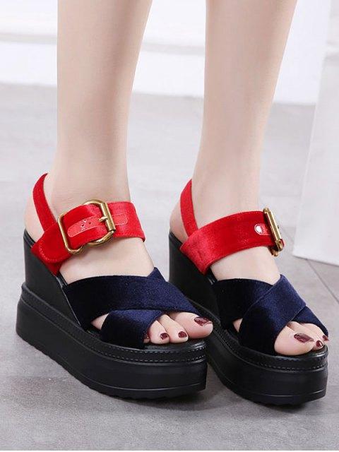 trendy Platform Buckle Strap Velvet Sandals - BLUE AND RED 39 Mobile