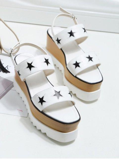 buy Platform Two Tone Star Pattern Sandals - WHITE 39 Mobile