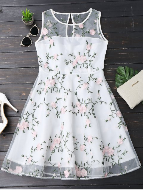women Floral Patched Sleeveless Organza Dress - WHITE S Mobile