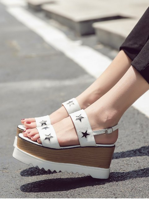 best Platform Two Tone Star Pattern Sandals - WHITE 38 Mobile