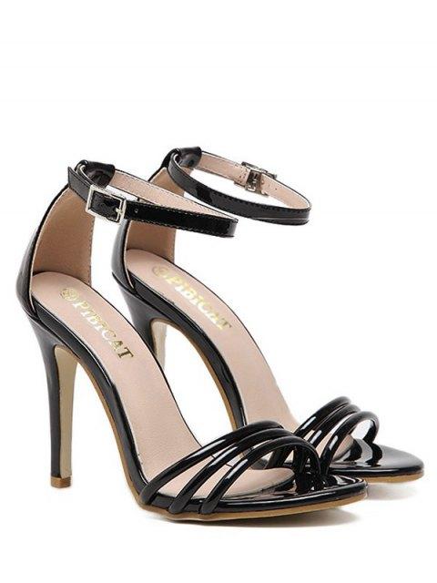 Sandales de cheville en cuir avec ruban - Noir 39 Mobile