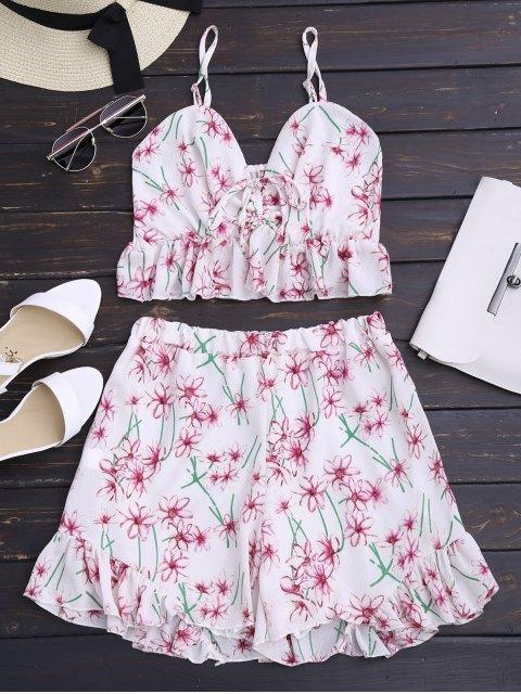 Top cami +Shorts imprimés floral embellie falbalas à taille haute - Floral M Mobile