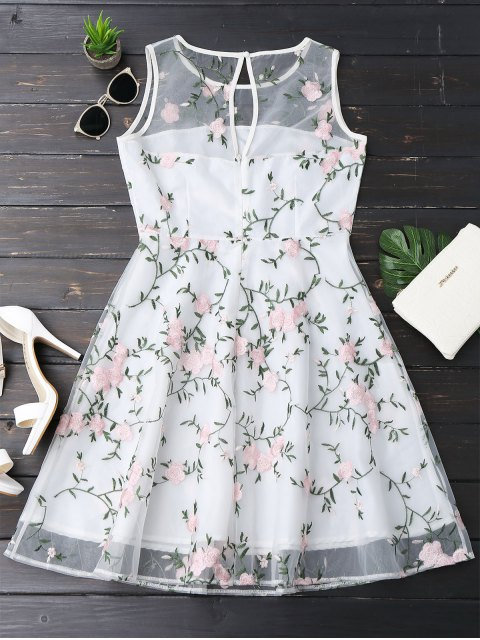 lady Floral Patched Sleeveless Organza Dress - WHITE XL Mobile