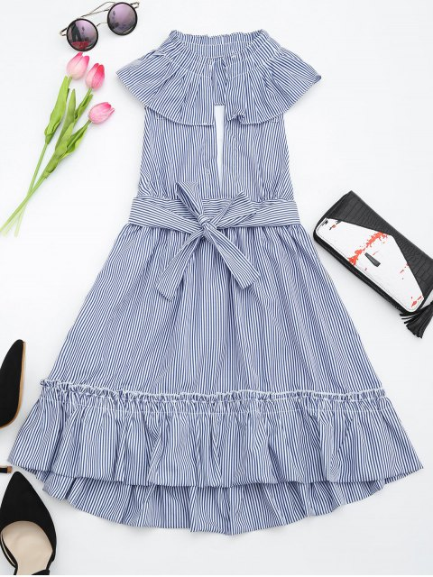 trendy Plunging Neck Ruffles Striped Belted Dress - STRIPE XL Mobile
