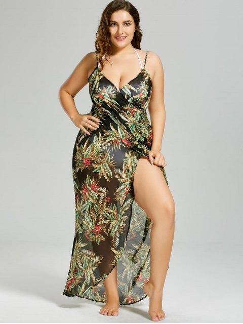 buy Plus Size Tropical Leaf Cover-up Wrap Dress - BLACK 5XL Mobile