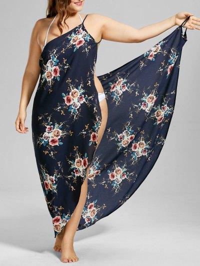 Plus Size Tiny Floral Beach Cover-up Wrap Dress - Purplish Blue Xl