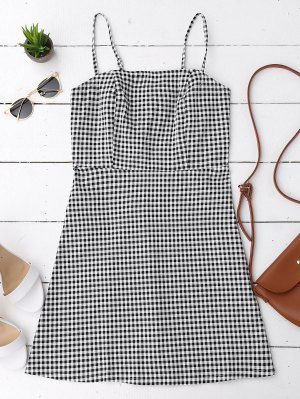 Back Zipper Checked Slip Mini Dress - Checked M