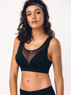 Cut Out Mesh Padded Sporty Bra