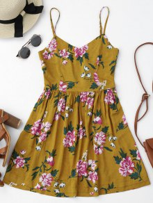 Cutout Back Floral Mini Slip Dress - Floral S