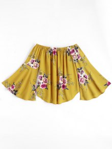 Floral Flare Sleeve Off Shoulder Top - Yellow M