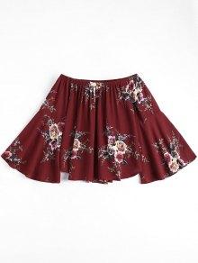 Floral Flare Sleeve Off Shoulder Top - Wine Red S