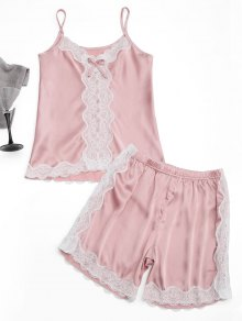 Lace Trim Cami Top with Satin Shorts