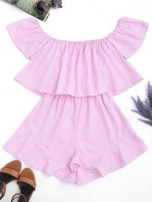 Ruffle Striped Off The Shoulder Romper - Pink Stripes S