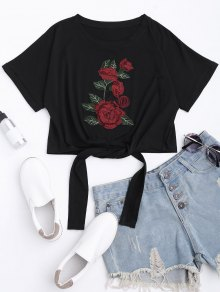 Floral Patched Self Tie Bowknot Tee
