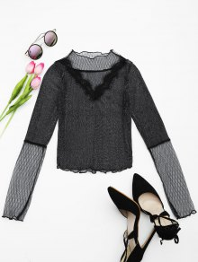 Sheer Glitter Mesh Crop Blouse - Black M