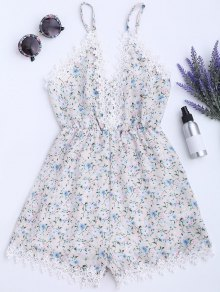 Lace Panel Floral Print Cami Romper