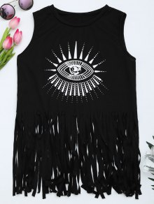 Printed Fringed Tank Top