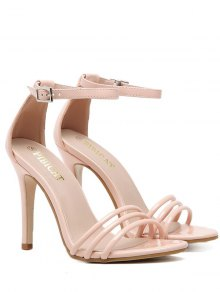Ankle Strap Strappy Patent Leather Sandals - Nude Pink 38