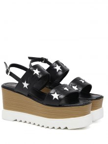 Platform Two Tone Star Pattern Sandals - Black 38